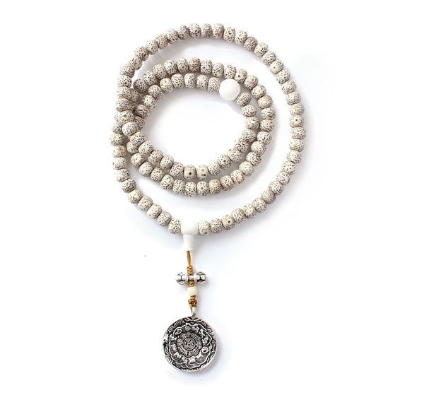 108 Mala Natural Moon & Stars Bodhi Necklace with Bagua