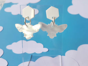 White marble bee acrylic earrings.