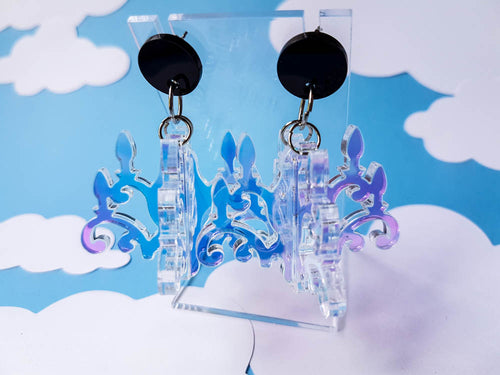 Iridescent chandelier acrylic dangle earrings.