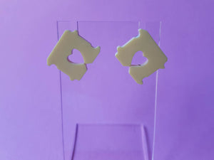 Bread tag laser cut acrylic earrings.