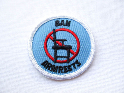 Girth Guides Ban Armrests, Fat Activist Patch