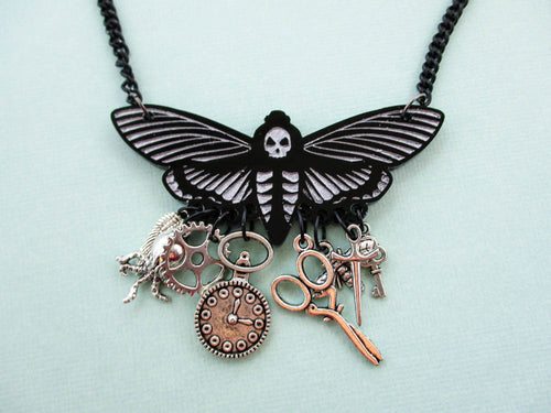 Death Head Moth Acrylic Necklace with Charms, Steampunk style