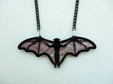 Halloween bat necklace, laser cut acrylic jewelry