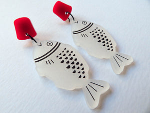 Soy Sauce Fish Acrylic Earrings (stud version)