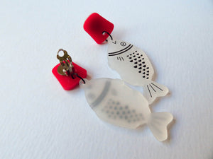 Soy Sauce Fish Acrylic Earrings (clip on version)
