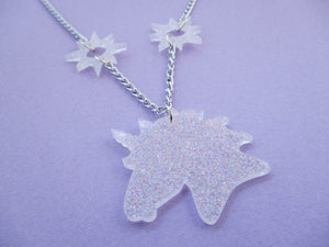 White Glitter Unicorn Necklace with Stars