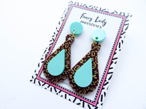 Leopard Mint Teardrop Acrylic Earrings on backing card