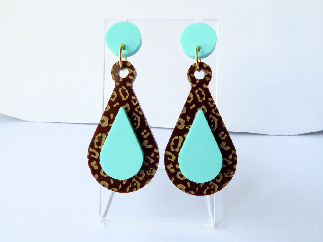 Leopard Mint Teardrop Acrylic Earrings