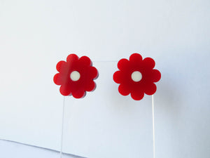 Red Flower Stud Earrings