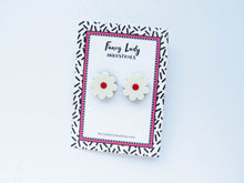 Cream Red Flower Stud Earrings