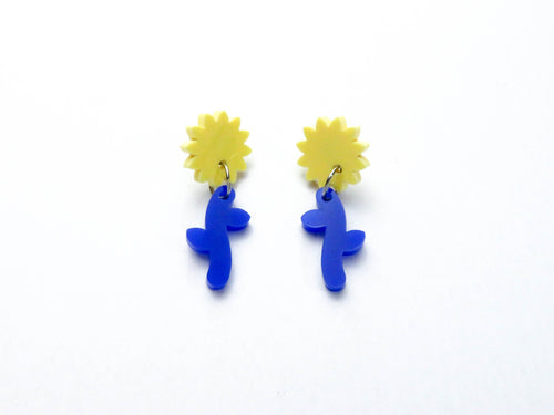 Yellow/ Blue Flower Stem Dangle Earrings