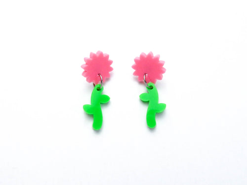 Pink/ Green Flower Stem Dangle Earrings