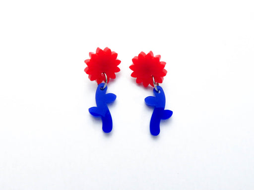 Red/ Blue Flower Stem Dangle Earrings