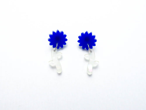 Blue/ Shell Flower Stem Dangle Earrings