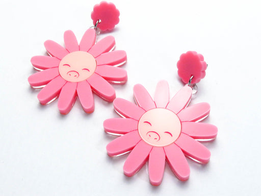 Pig Face Flower Dangle Earrings