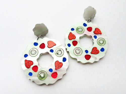 Pavlova Wreath Earrings - No Glitter