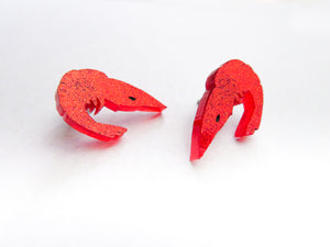 Tiny Prawn Studs in Plain Red or Glitter