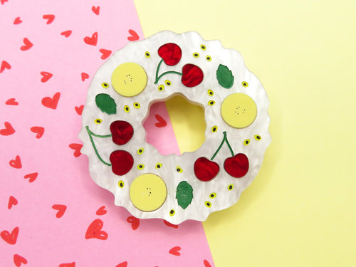 Banana and Cherry Pavlova Wreath Acrylic Brooch