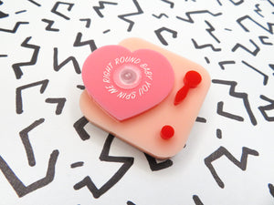 Love Heart Record Player Brooch