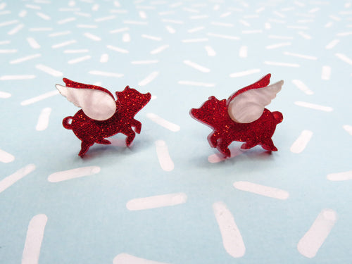 Valentine's Edition Flying Pig Tiny Stud Earrings