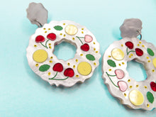 Banana and Cherry Pavlova Wreath Acrylic Earrings