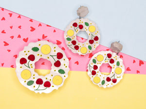 Banana and Cherry Pavlova Wreath Brooch and Earrings