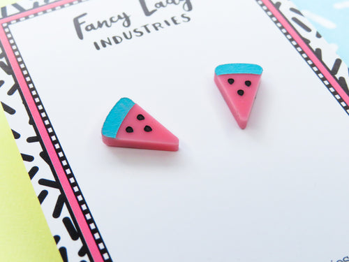 Tiny Watermelon Stud Acrylic Earrings