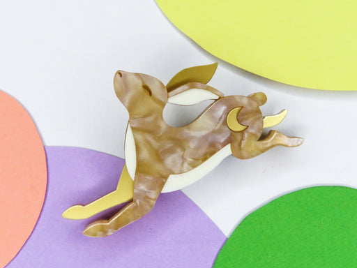 Leaping Hare Brooch, easter acrylic brooch Australia