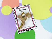 Leaping Hare Brooch on backing card, easter acrylic brooch Australia