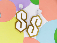Cool S Statement Earrings, white with gold border, acrylic earrings Australia