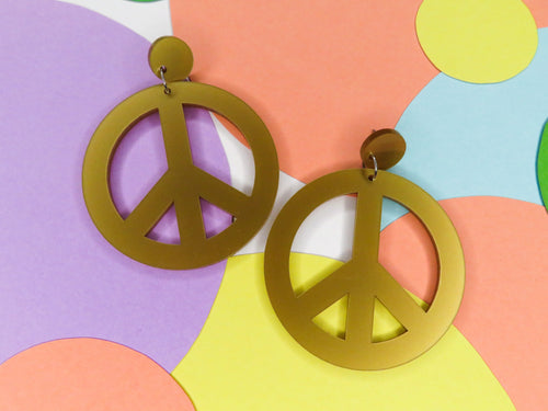 Peace Symbol Statement Earrings, acrylic earrings australia