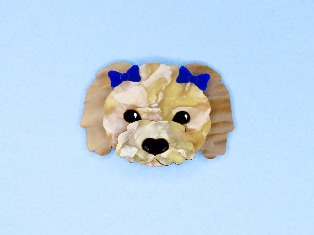 Flossie Dog Brooch | Acrylic brooches made in Australia by Fancy Lady Industries