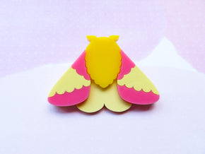 Rosy Maple Moth Brooch