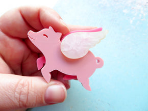 Blush Flying Pig Brooch