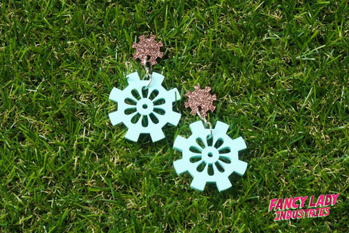 Mint and Copper Glitter Cog and Gear Dangle Earrings