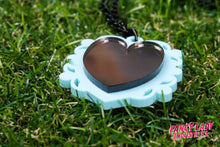 Mint and Bronze Mirror Heart Necklace