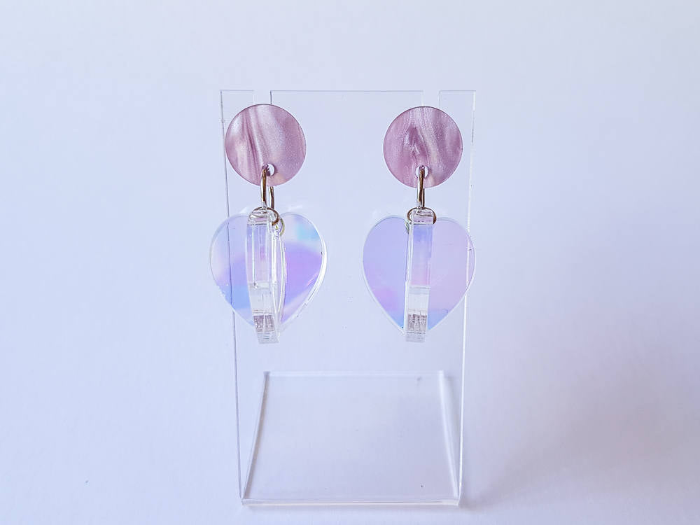 Iridescent seed pod, laser cut acrylic earrings.