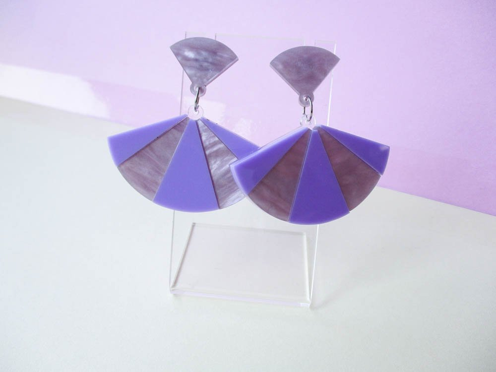 Lavender Fan Dangle Earrings