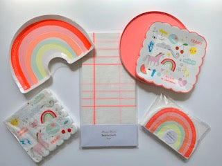 Rainbows and Unicorn Complete Party Package (coral tablecloth)