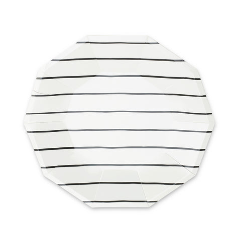 Frenchie Striped Plates -BLACK INK (large)