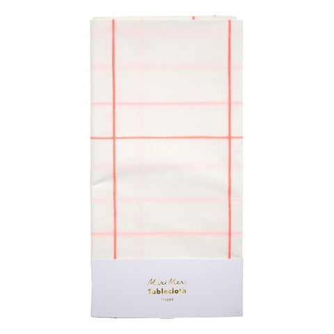 Coral grid table cloth