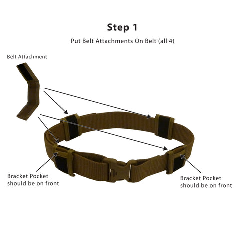 Step 1<br /> -- Wrap Belt Attachment around your duty or web belt<br />