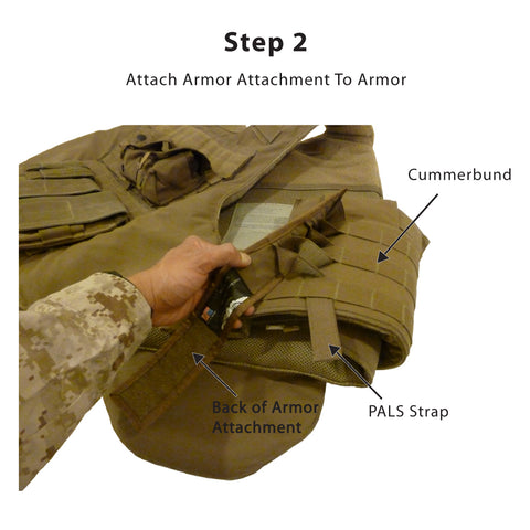 Step 2<br /> -- Weave the PALS strap (on the back of the Armor Attachment) through the PALS attachment points on your body armor's cummerbund<br />