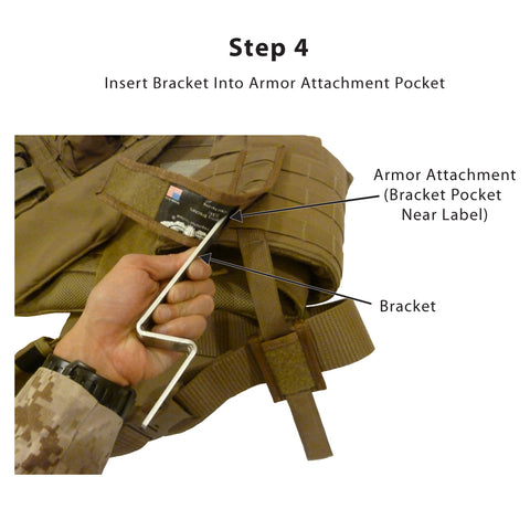 Step 4<br /> -- Slide the long end of the bracket into the bracket pocket (not the PALS strap) on the inside of the Armor Attachment