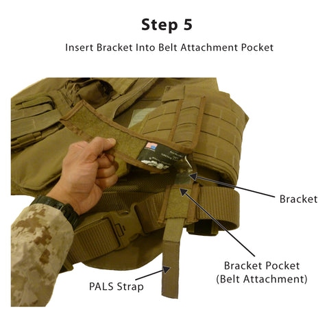 Step 5<br /> -- Slide the short end of the bracket into the bracket pocket on the Belt Attachment