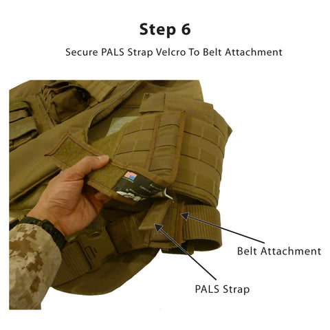 Step 6<br /> -- Pull the Armor Attachment's PALS strap tight through the Belt Attachment's bracket pocket and secure using the Velcro