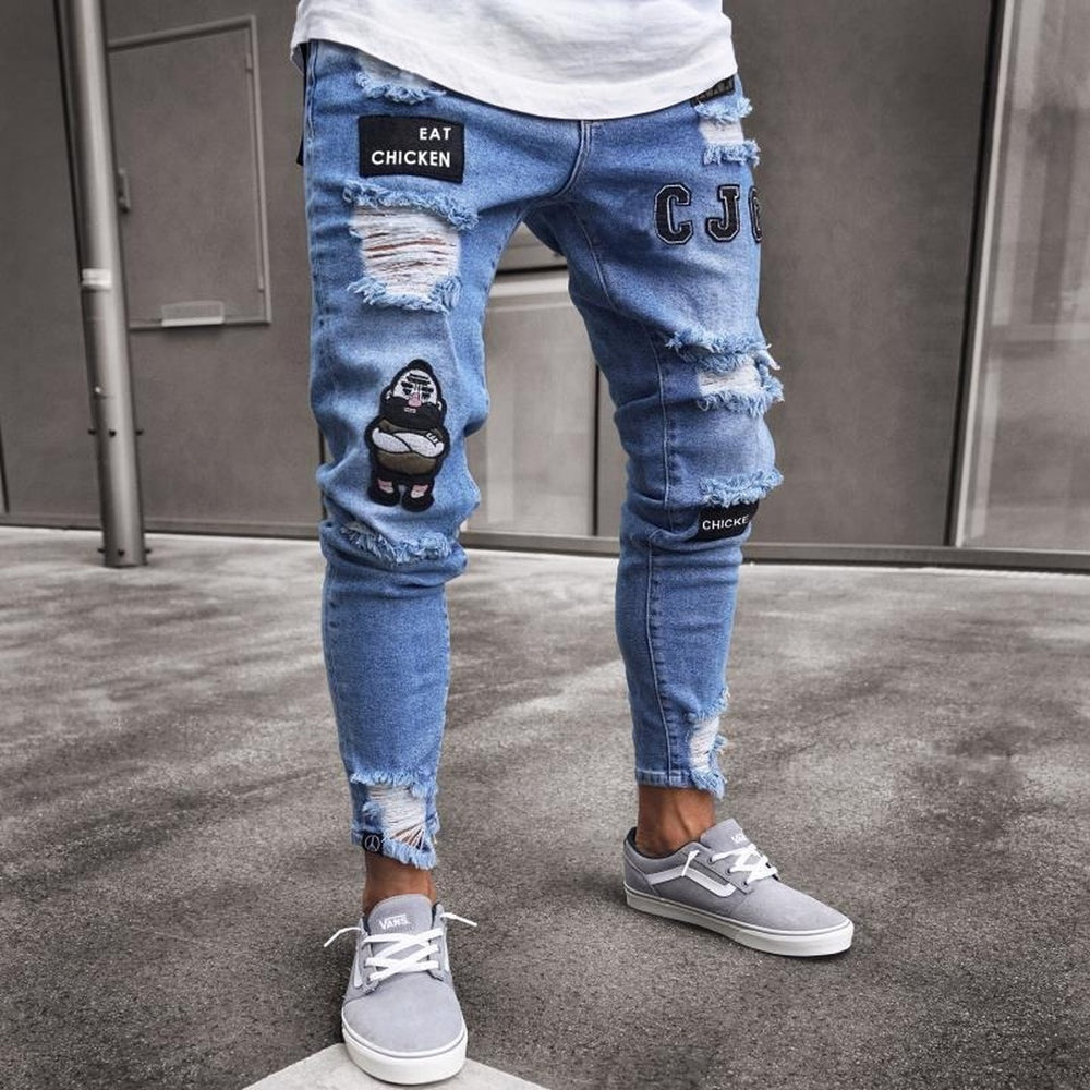 Jean Slim Fit Straight Distressed Zipper Jeans