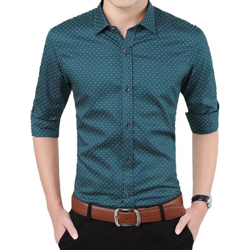 elegant appearance recognized brands favorable price Mens Floral Printed Casual Long Sleeved Slim Fit Dress Shirts