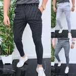 2019 Drawstring Striped Decorated Slim Pants