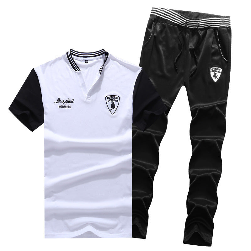Summer Men's Fashion Large Size Sports Suit T-Shirt Two-Piece